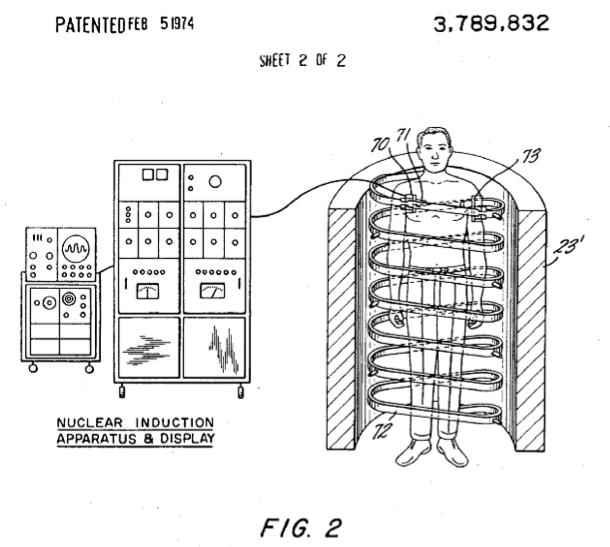 An image from the original MRI Patent, issued Feb 5, 1974.