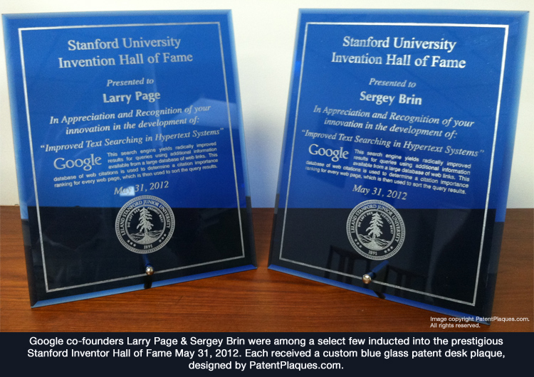 The blue glass patent plaques awarded to Inventor Hall of Fame inductees were each produced by the PatentPlaques.com production team.