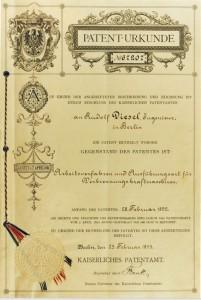 Diesel's German Patent on the diesel engine, February, 28, 1892