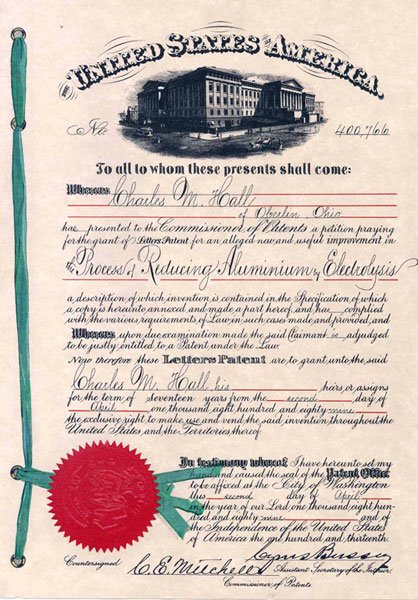 The original Patent Cover to Charles Martin Hall's Aluminum patent, issued April 3, 1889