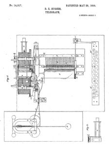 Hughes' US Patent 14,917 for a Telegraph Machine