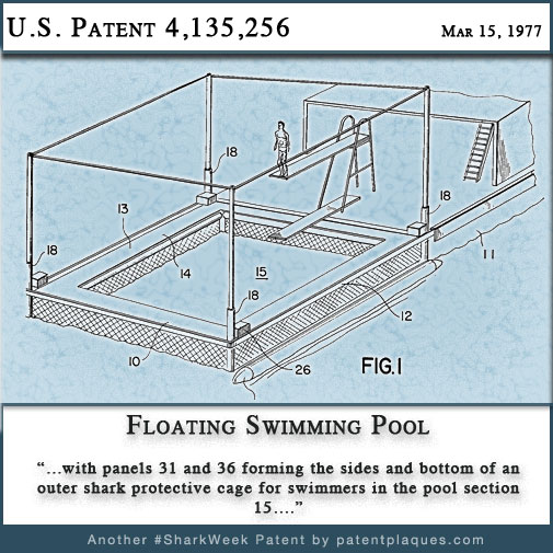 Floating Swimming Pool Shark Patent 4135256