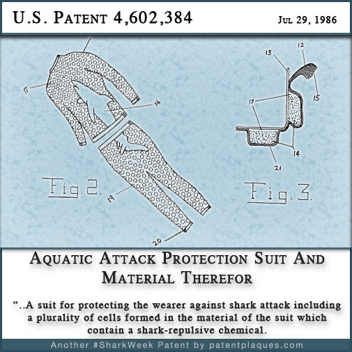 US 4602384 - Aquatic Attack Protector Suit and Material Therefor