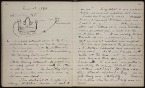 Alexander Graham Bell's handwritten notebook entry describing the event on March 10, 1876<br /> - Photo from American Treasures of the Library of Congress.